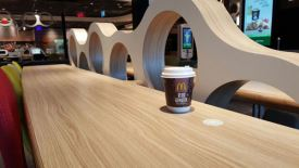 Wireless charger integrated in restaurant furniture