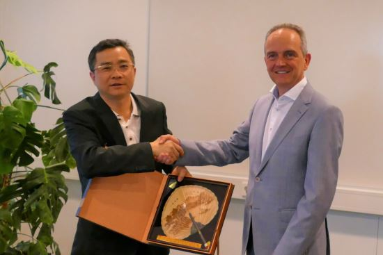 Cai Dewei (Mayor - Jiangmen, China) and Patrick Gerard (CEO - Rompa Group)